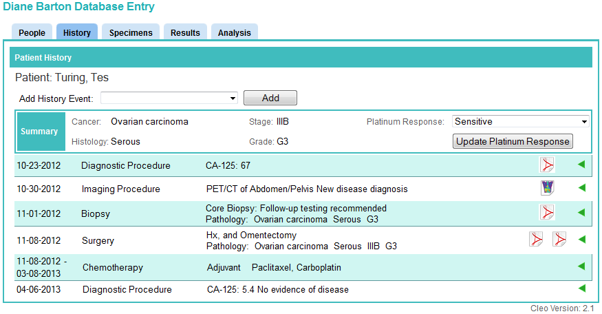 The History tab Colabrativ's Clinical Entry and Operations  (Cleo) application with a fictitious ovarian cancer patient history shown in single line display mode.  All of the personal information displayed in this figure is fictitious, and does not represent a real individual or their medical history.