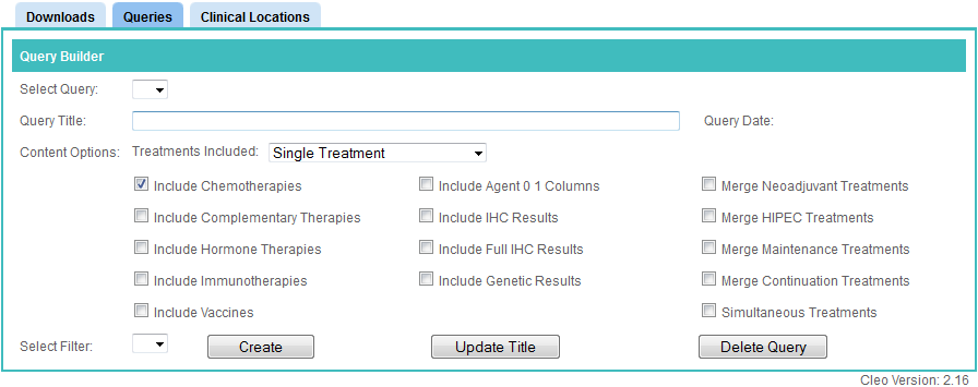The Queries tab in Colabrativ's Clinical Entry and Operations (Cleo) application before the creation of any treatment tables or any queries has been run.
