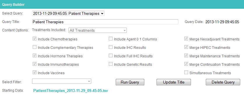 The Queries tab in Colabrativ's Clinical Entry and Operations (Cleo) application after creating an All Treatments table.  An All Treatments table puts all of a patient's treatments in a single row.  The treatments table creation options have been disabled after the treatments table has been created.