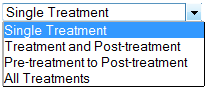 Treatments Included pull-down menu in Colabrativ's Clinical Entry and Operations (Cleo) Explore application.
